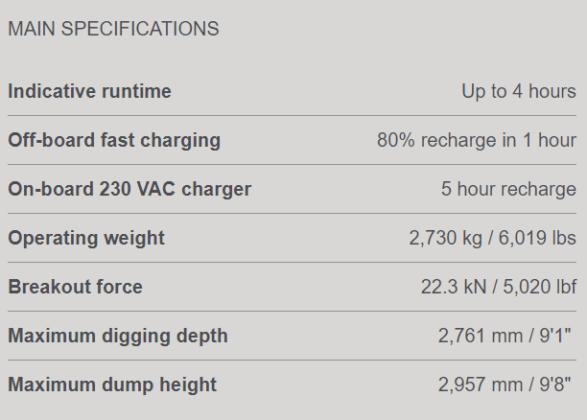 caratteristiche escavatori elettrici volvo