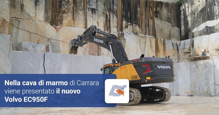 Nella cava di marmo di Carrara viene presentato il nuovo Volvo EC950F